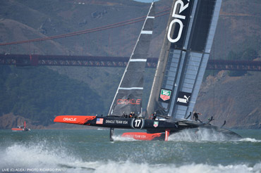 Oracle had upwind speed on Day 14. Click image to view large. Photo:�2013 ACEA/Photo Ricardo Pinto