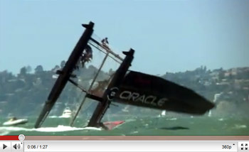 Oracle Racing Capsizes their AC45 Catamaran