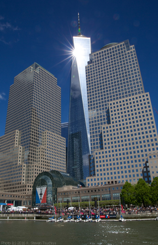 The America's Cup Village was at Brookfield Place, one block west of the World Trade Center, including the new 1,776-foot-tall Freedom Tower. Rooftop terraces were VIP viewing spots. Photo:©2016 R. Steven Tsuchiya