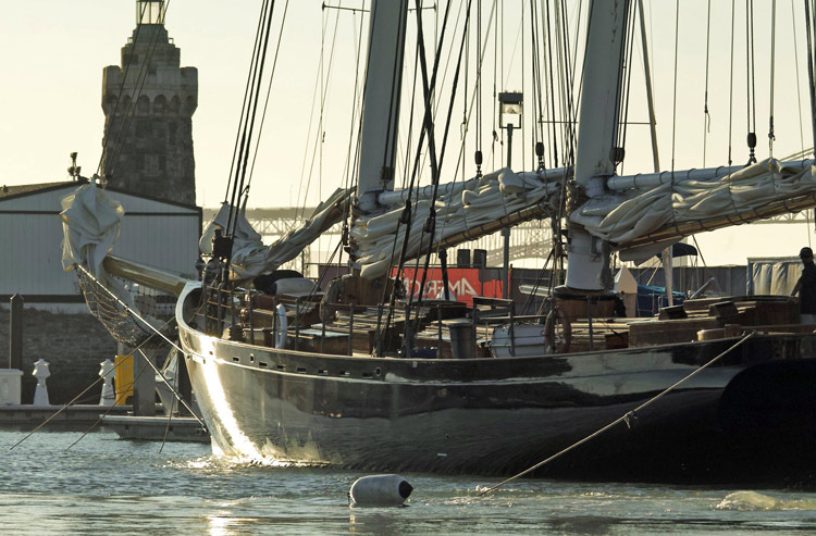 Replica of the famous low black schooner in Marina Green, San Francisco.  Image:(C)2013 CupInfo