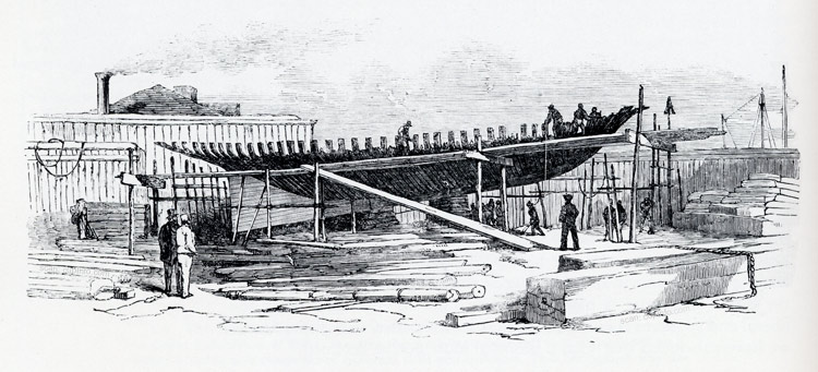 America under construction in New York.  This image appeared in the Illustrated London News March 15, 1851, five months before she raced at Cowes.