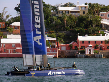 Artemis Racing awaits action in Bermuda. Photo: ©2015 CupInfo.com