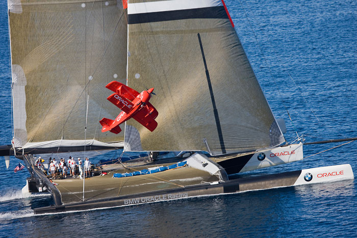 America S Cup Bmw Oracle And Biplane Photos From