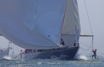 J-Class yacht Velsheda with bowman on spinnaker pole, Newport, RI. Photo copyright Daniel Forster go4image.com