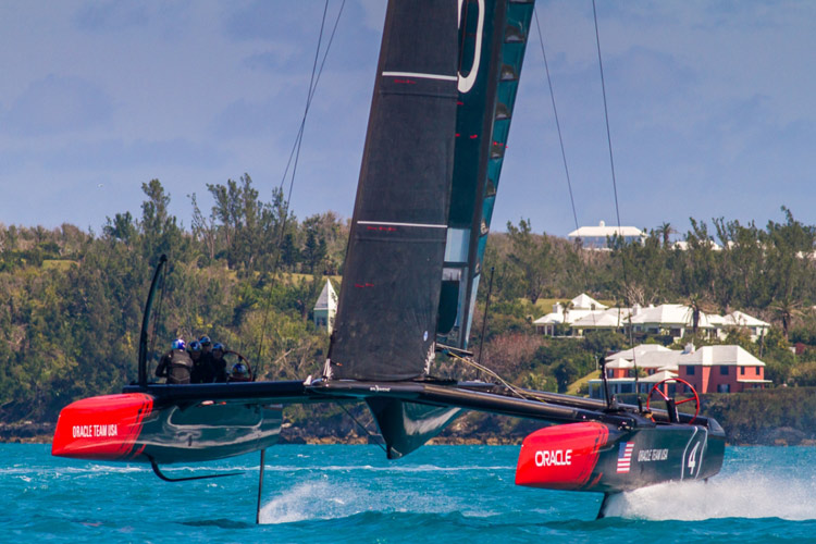 Oracle Team USA's AC45S taking flight in Bermuda.  Image:�2015 Oracle Team USA
