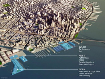 Original concept plan for San Francisco Waterfront Piers. Click image to enlarge and read more. Image: �2010 Skidmore, Owings, and Merrill, LLP