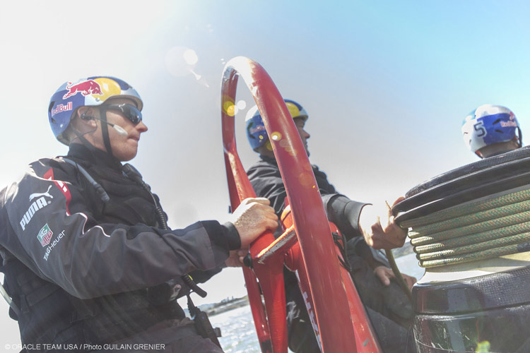 James Spithill wheeling Oracle Team USA AC72 during training in San Francisco.